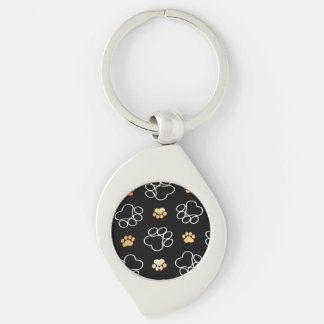 Dog Puppy Paw Prints Gifts Black and Gold Silver-Colored Swirl Keychain