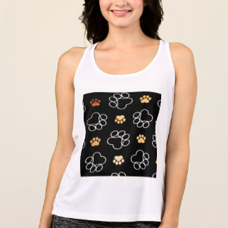 Dog Puppy Paw Prints Gifts Black and Gold Tank Top