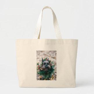Dog Puppy Pet Animal Christmas Green Garland Large Tote Bag