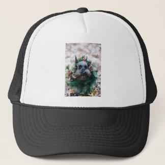 Dog Puppy Pet Animal Christmas Green Garland Trucker Hat
