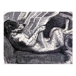 """""""Dog Reading Newspaper"""" Vintage Illustration Postcard"""
