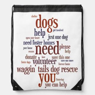 Dog Rescue Wordie Drawstring Bags
