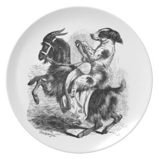 Dog Riding a Goat Plate