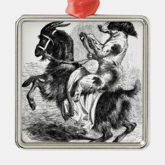Dog Riding a Goat Silver-Colored Square Ornament