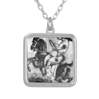 Dog Riding a Goat Silver Plated Necklace