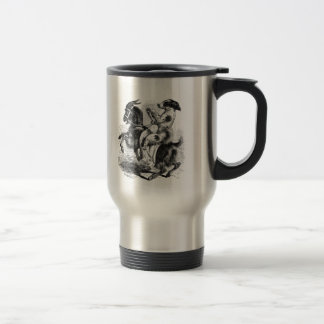 Dog Riding a Goat Travel Mug