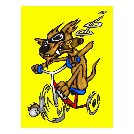 Dog Riding Bike Postcard
