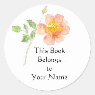 Dog Rose Bookplate Classic Round Sticker