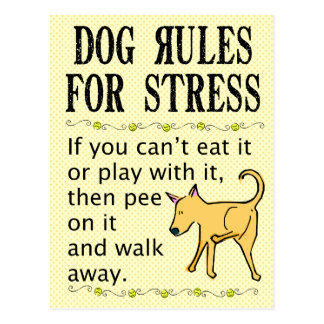 Dog Rules for Stress Postcard