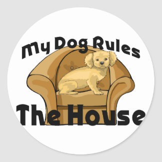 Dog Rules The House Round Sticker