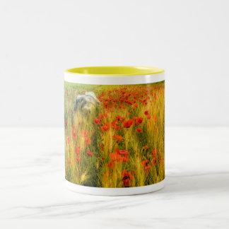 Dog running in poppy field. Two-Tone coffee mug