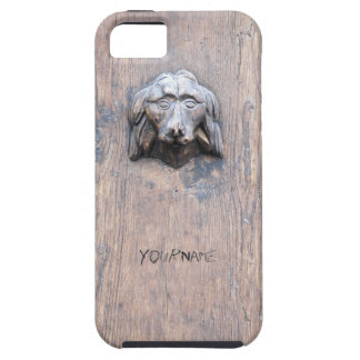 Dog sculpted on wood door iPhone 5 cover