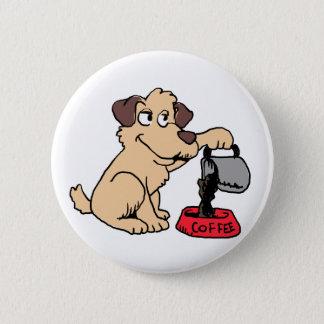 Dog serving coffee 2 inch round button