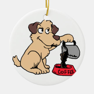 Dog serving coffee ceramic ornament