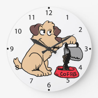 Dog serving coffee large clock