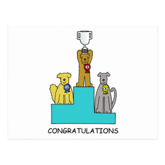 Dog show success congratulations. postcard