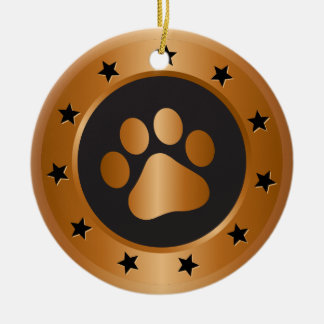 Dog show winner bronze medal round ceramic ornament