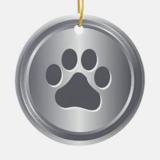 Dog show winner silver medal round ceramic ornament