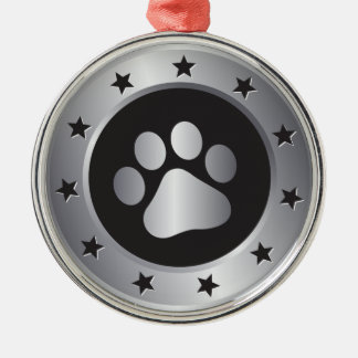 Dog show winner silver medal Silver-Colored round ornament