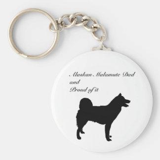 Dog Silhouette Alaskan Malamute Dad Basic Round Button Keychain