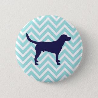 Dog Silhouette in Dark Blue on Chevron Pattern 2 Inch Round Button
