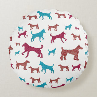Dog Silhouette Round Pillow