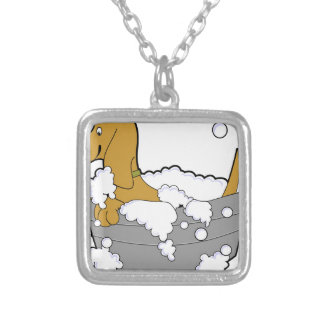dog silver plated necklace
