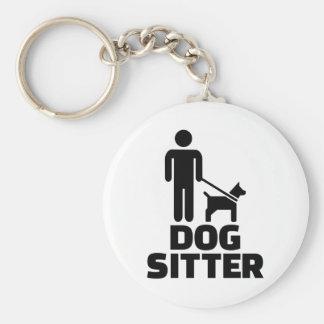 Dog sitter basic round button keychain