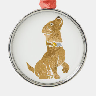 dog sitting. adopt a pet. Silver-Colored round ornament