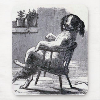 """Dog Sitting in a Chair"" Illustration Mouse Pad"