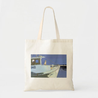 "dog sitting on the deck of the shrimpboat ""James"" Tote Bag"