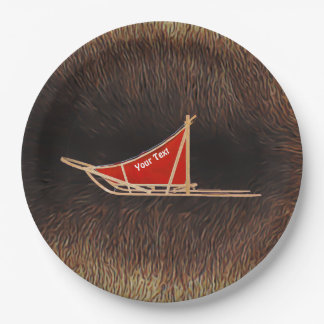 Dog Sled On Caribou Fur 9 Inch Paper Plate