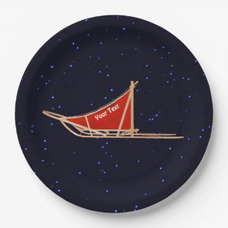 Dog Sled On Stars 9 Inch Paper Plate