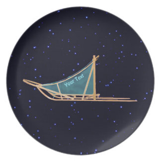 Dog Sled On Stars Party Plate