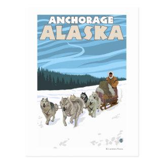 Dog Sledding Scene - Anchorage, Alaska Postcard