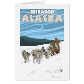 Dog Sledding Scene - Iditarod, Alaska Card