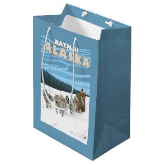 Dog Sledding Scene - Katmai, Alaska Medium Gift Bag