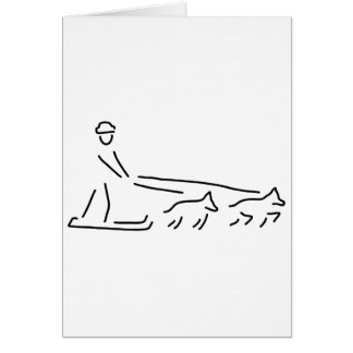 dog sleds run carriage dogs greeting card