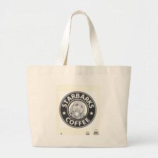 dog Starbucks Large Tote Bag