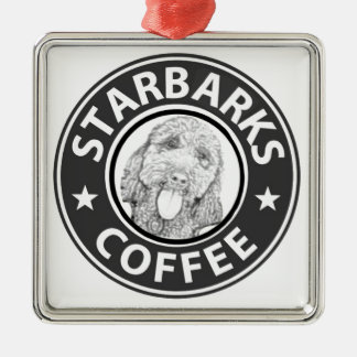 dog Starbucks Metal Ornament