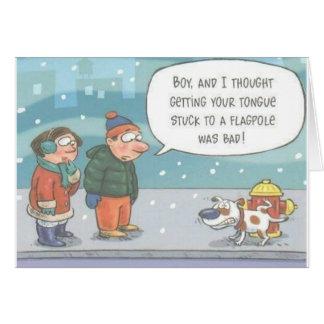 Dog Stuck on Fire Hidrant Greeting Card
