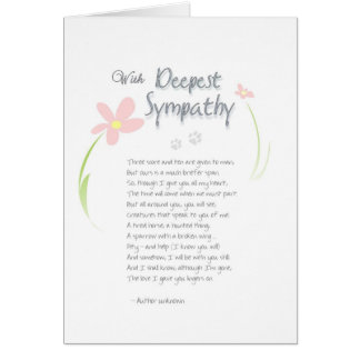 Dog Sympathy Card - Flowers with Deepest Sympathy