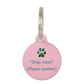 Dog Tag Pink Green Blue