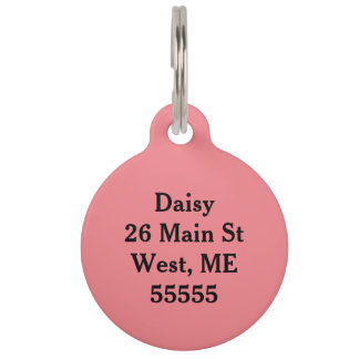 Dog tag pink pet name tags