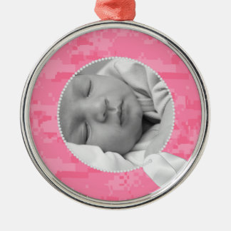 Dog Tags and Pink Camo Silver-Colored Round Ornament