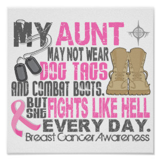 Dog Tags Breast Cancer Aunt Poster
