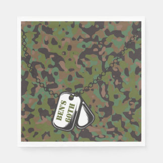 Dog Tags Soldier Joe GI Camouflage Party Napkins