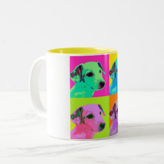 Dog, Terrier. Popart - animal Design Two-Tone Coffee Mug