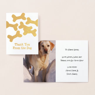 Dog Thank You - Add Pup's Photo Inside - Custom Foil Card