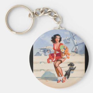 Dog Tied Pin Up Art Keychain
